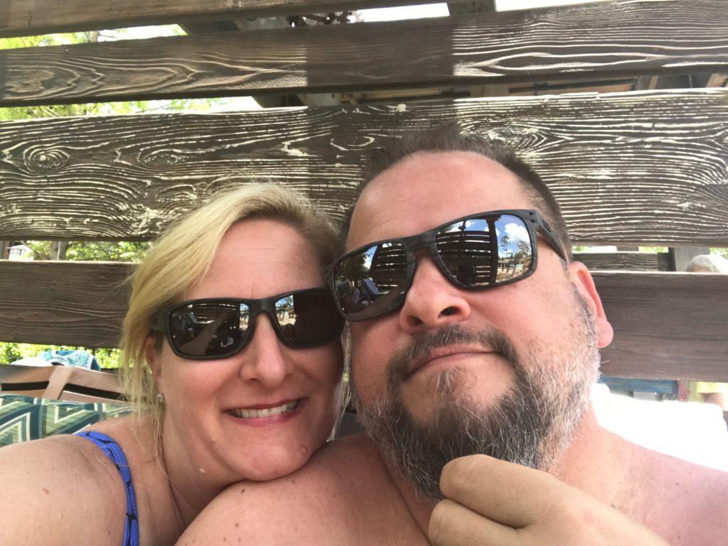 Selfie of couple at pool. Disney's Copper Creek Villas at Wilderness Lodge