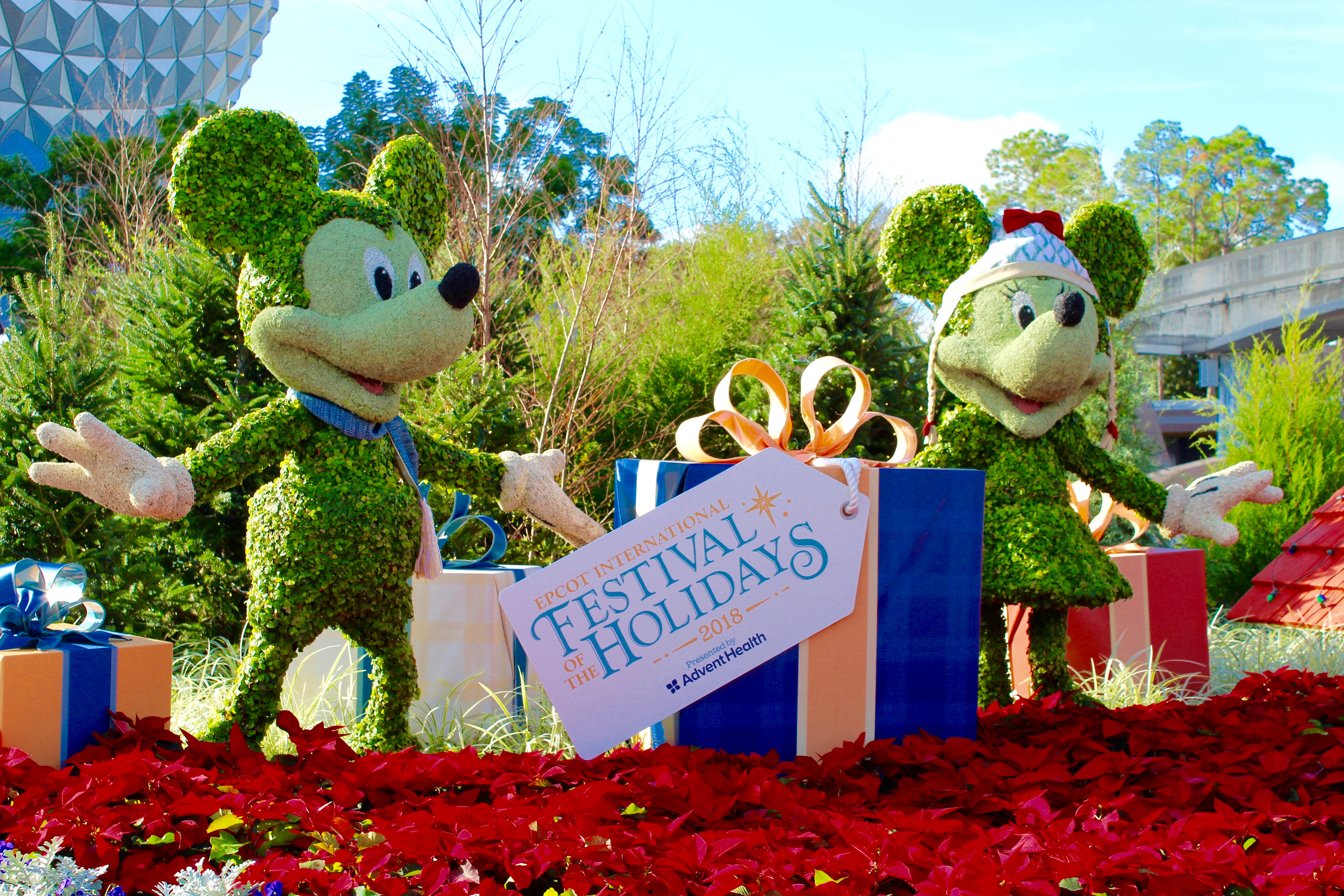 Mickey & Minnie Holiday topiaries at Epcot