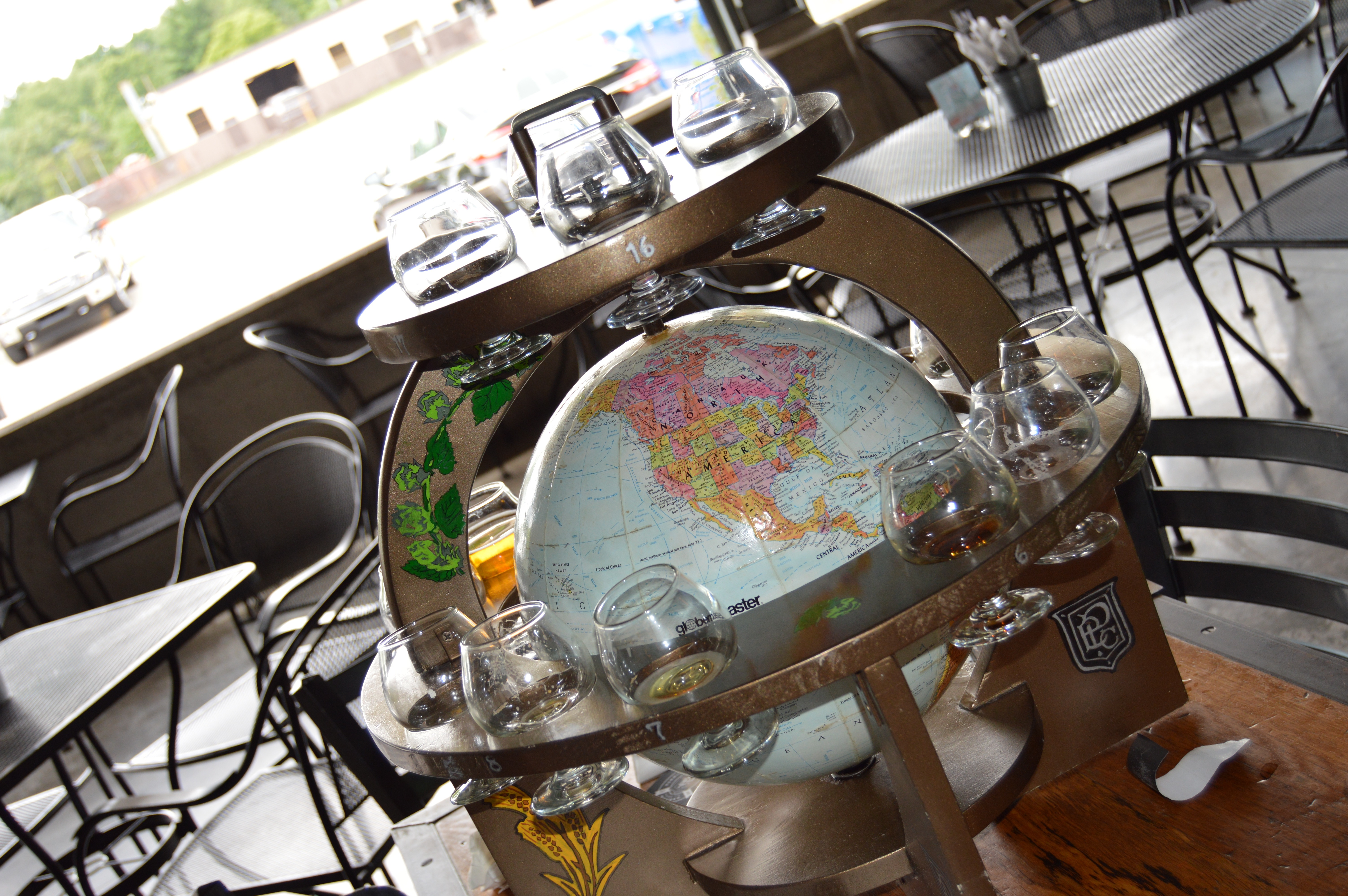 Empty globe of beers at Perrin Brewing