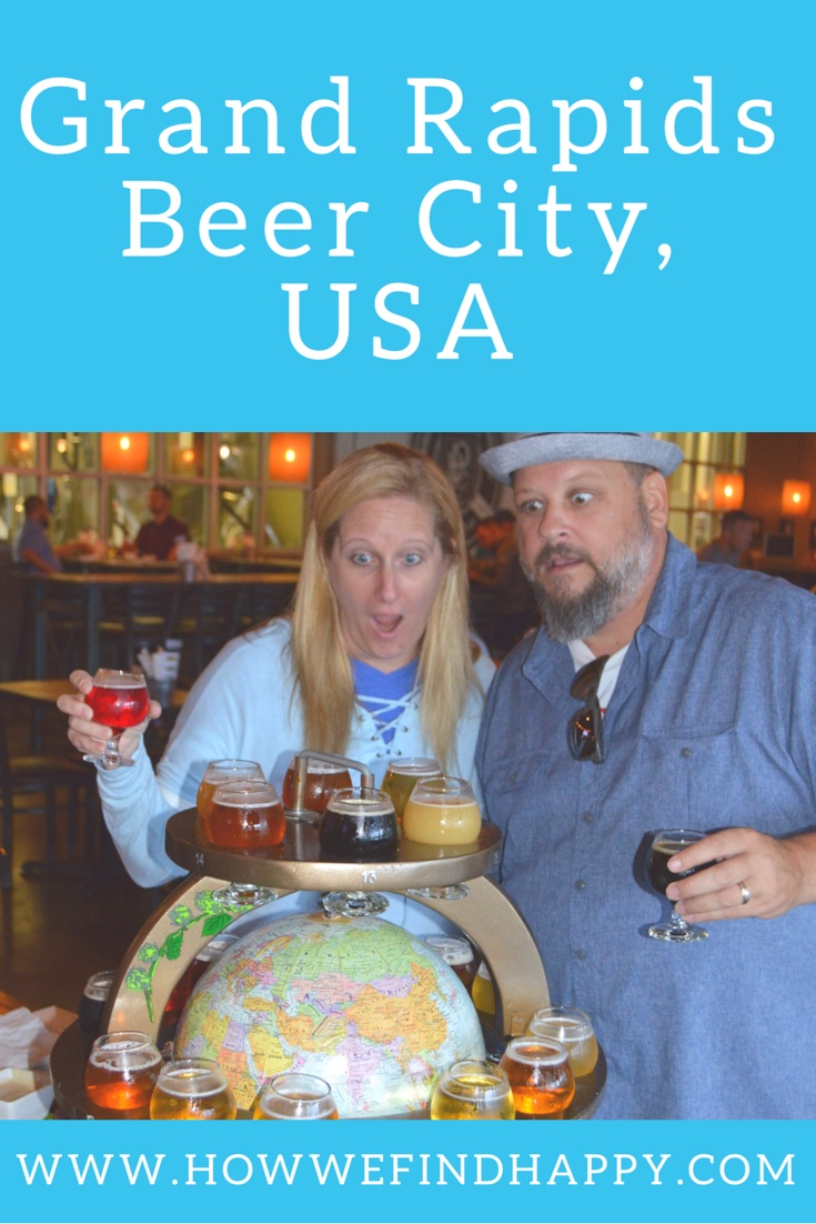 Pinterest graphic of Couple looking shocked at globe of beer from Perrin Brewing