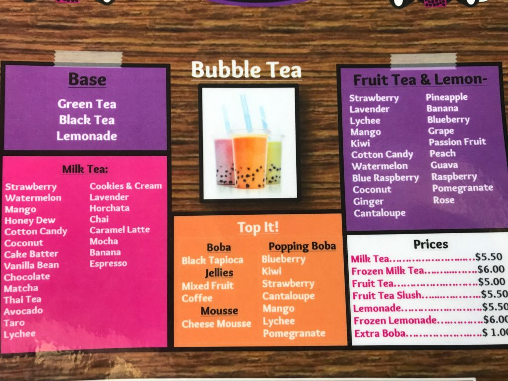Bubble Tea Menu for Can't Top This Eustis