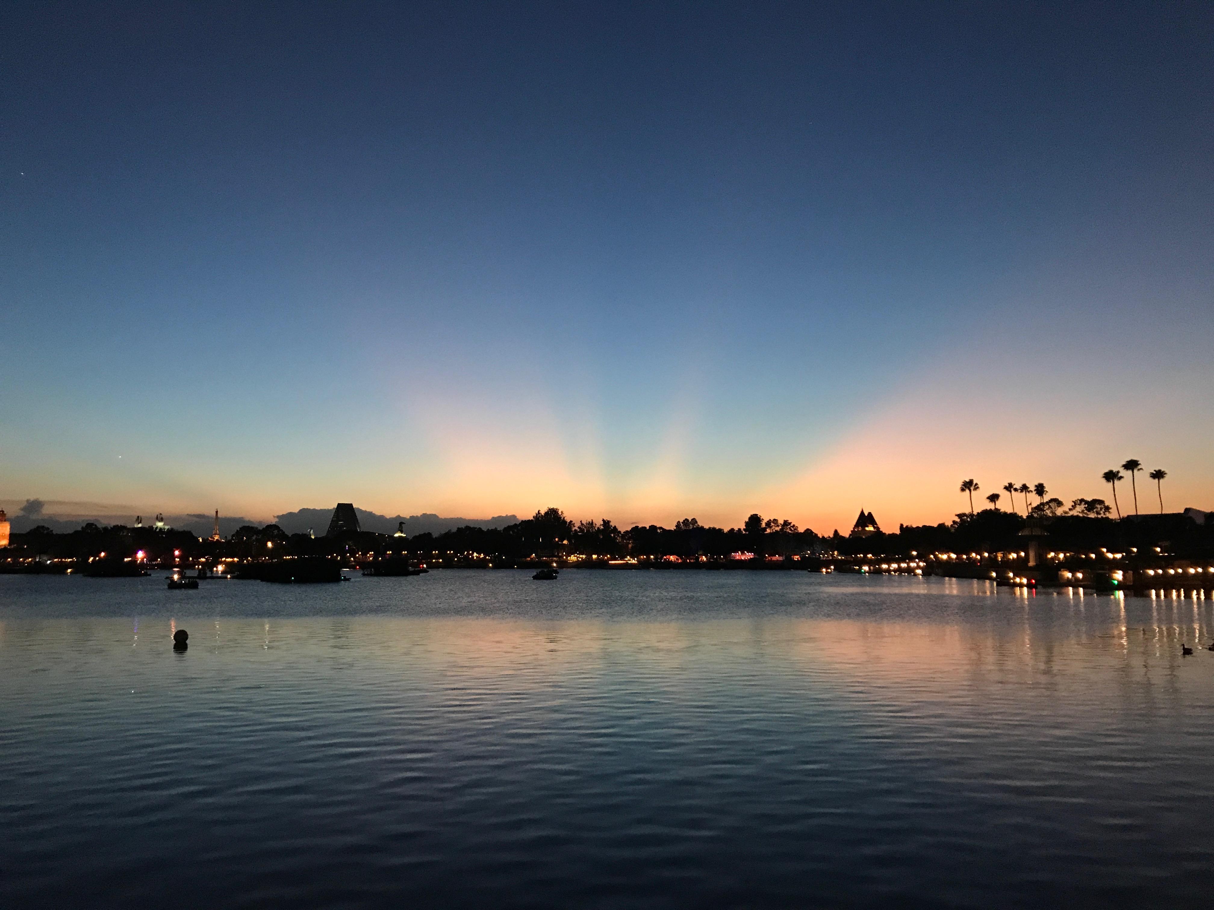 Sunset over Epcot World Showcase