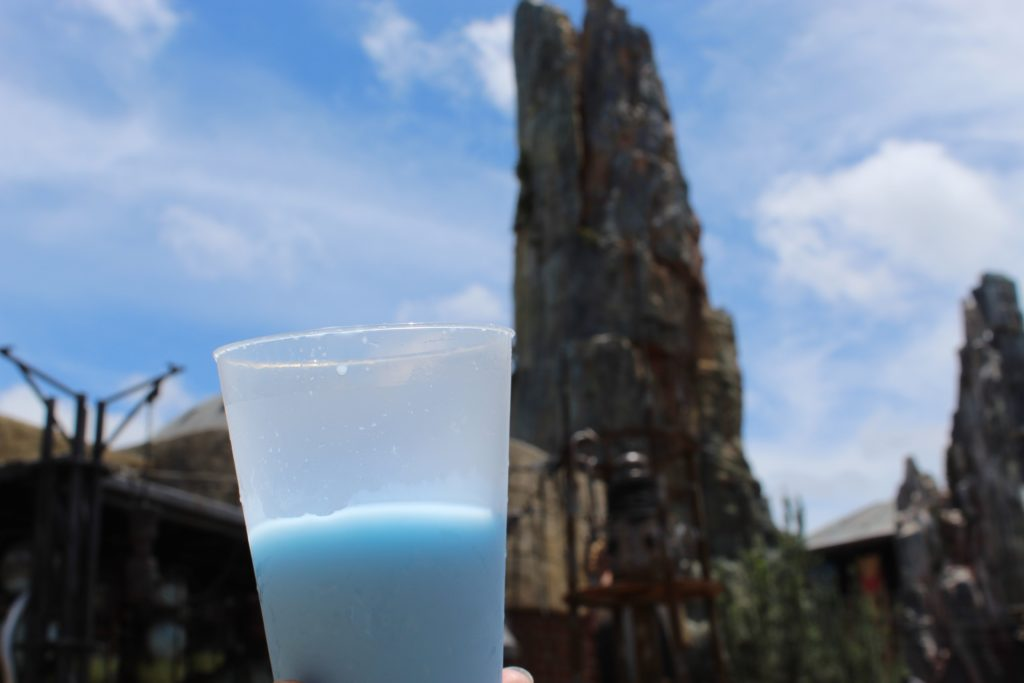Glass of blue milk at galaxy's edge