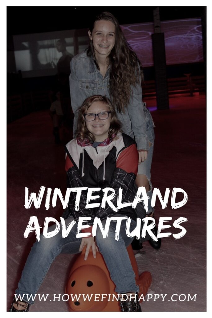 Teen girls on ice rink Pinterest graphic