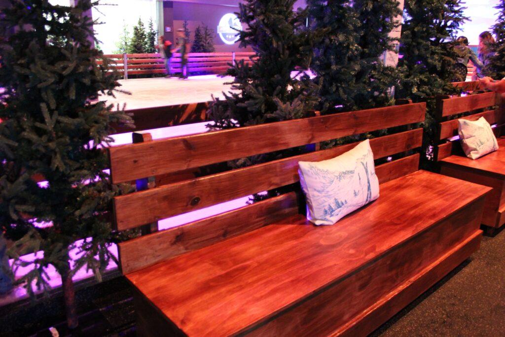 Wooden bench inside Winterland Adventures