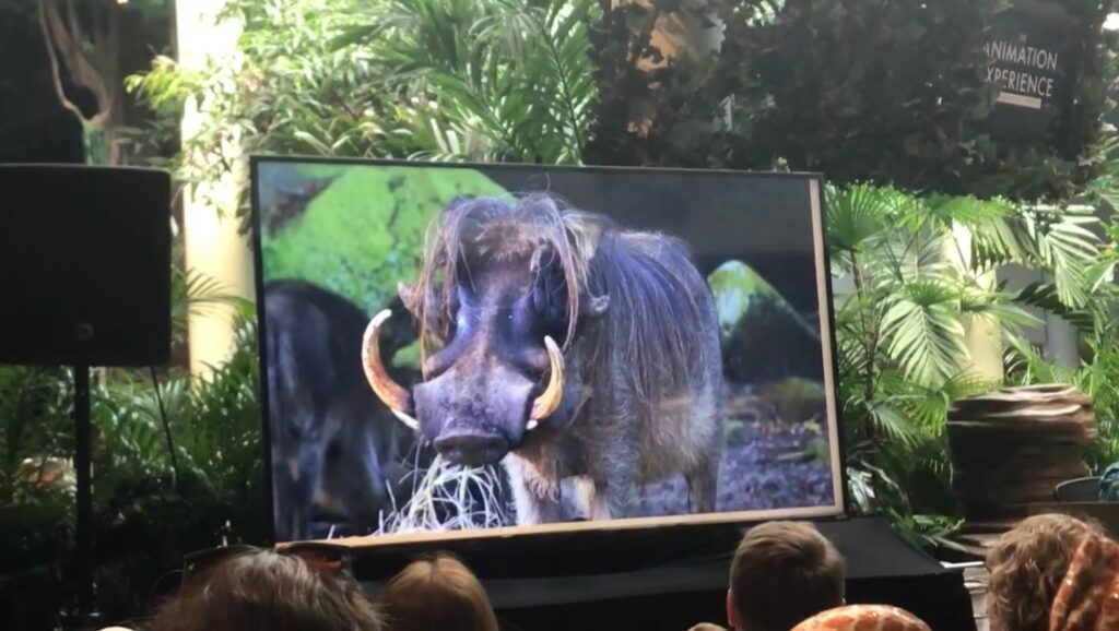 TV screen showing Red River Hog at Animation Experience