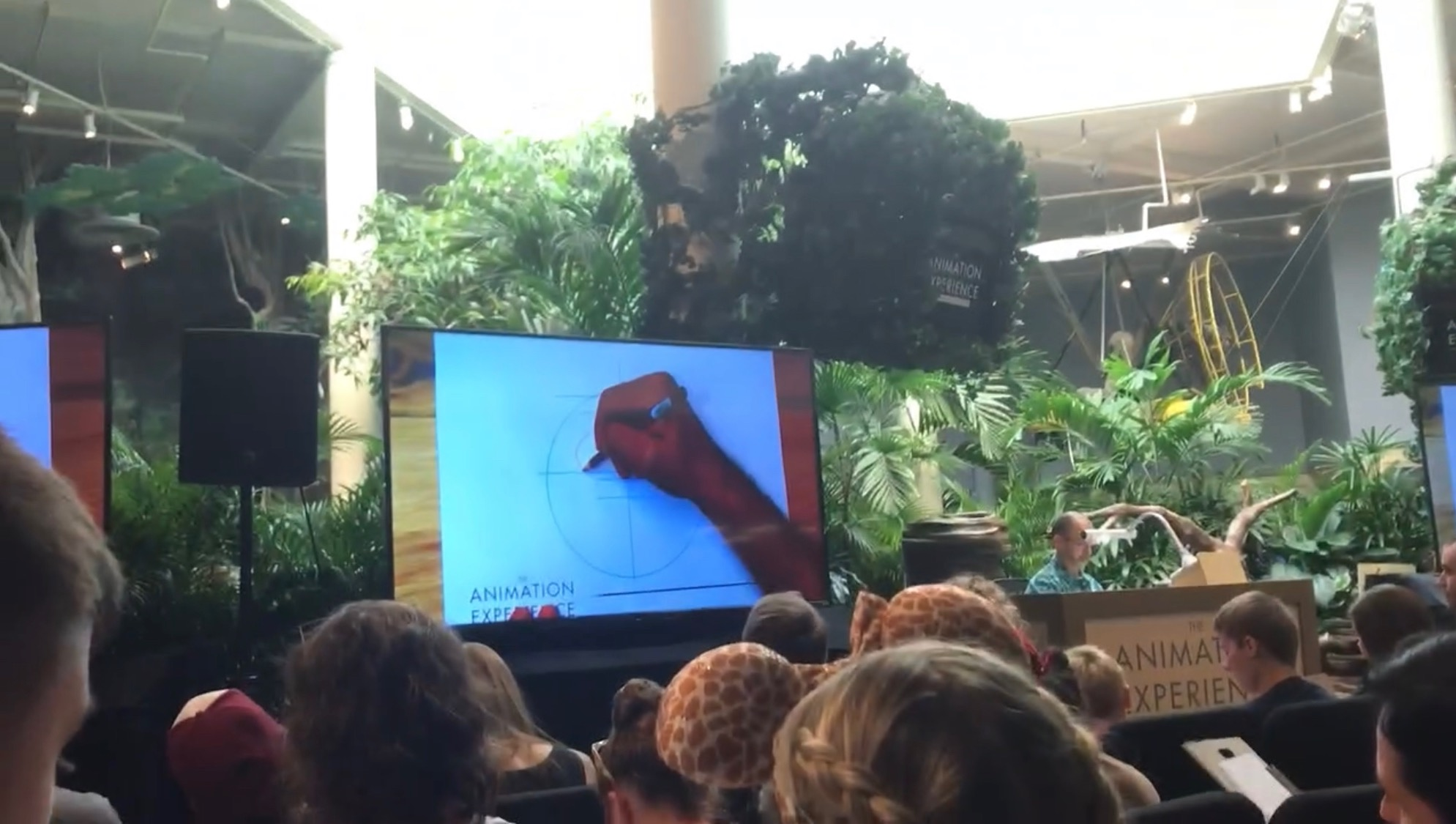 TV screen with guided drawing at Animation Experience.