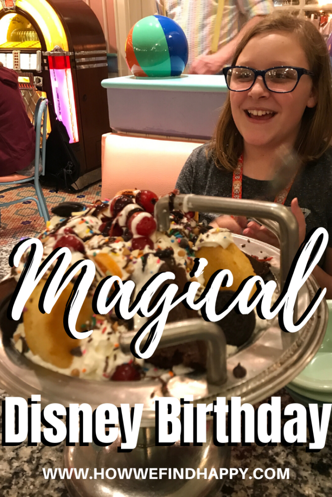 Teen girl sitting with kitchen sink sundae and having a magical birthday at Disney