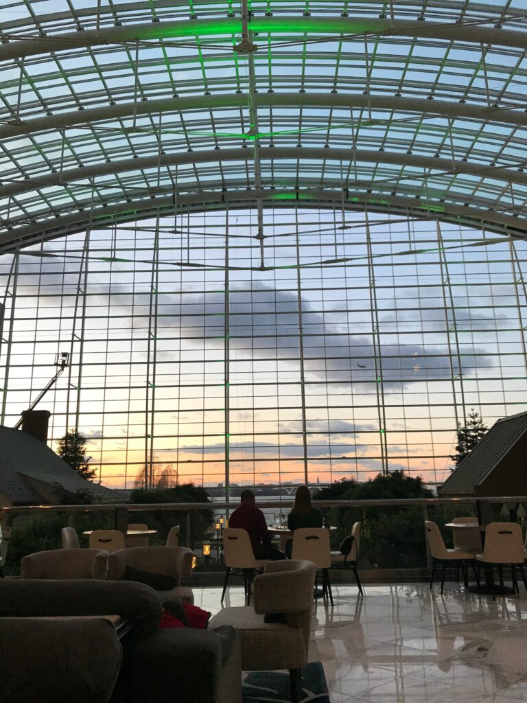 View of sunset from inside Gaylord National Harbor